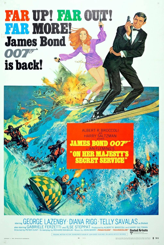 Original Vintage 007 James Bond Movie Poster On Her Majesty S
