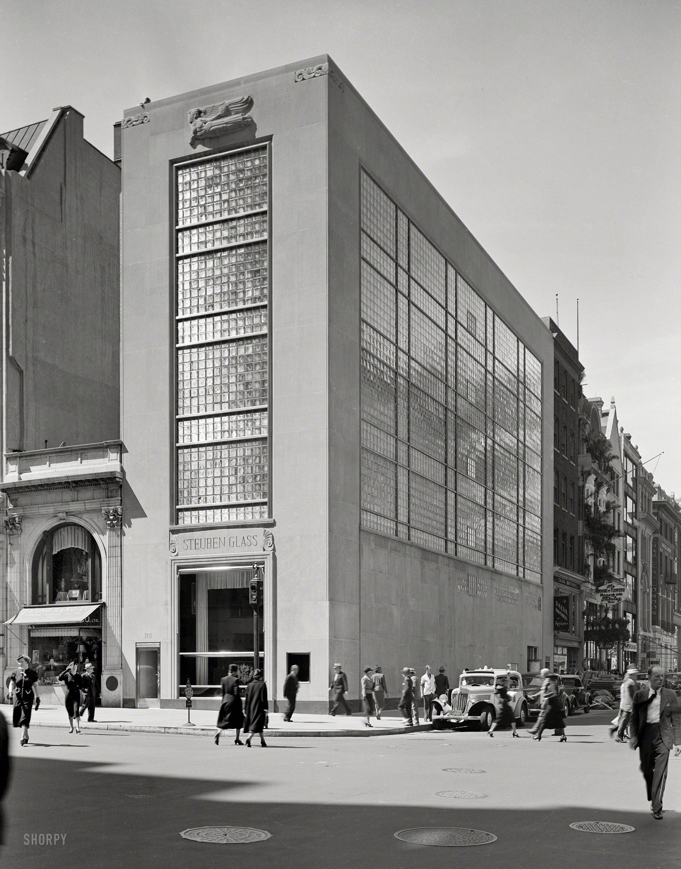 "Sept. 8, 1937. ""Steuben Glass, 718 Fifth Ave., New York. Exterior, general view. William & Geoffrey Platt, architects."" Gottscho-Schleisner photo.  Shorpy Historical Photo Archive :: Steuben Glass: 1937"