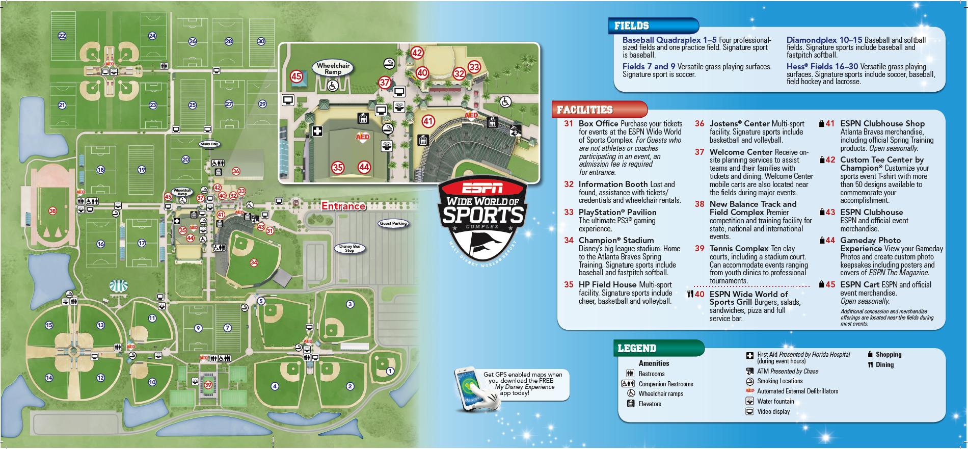 2013 Espn Wide World Of Sports Complex Map Disney World Map Disney World Parks Disney Map