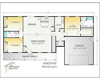 2,224 sq//ft Florida Custom Home Plan Blueprints COMPLETE SET in PDF NEW House