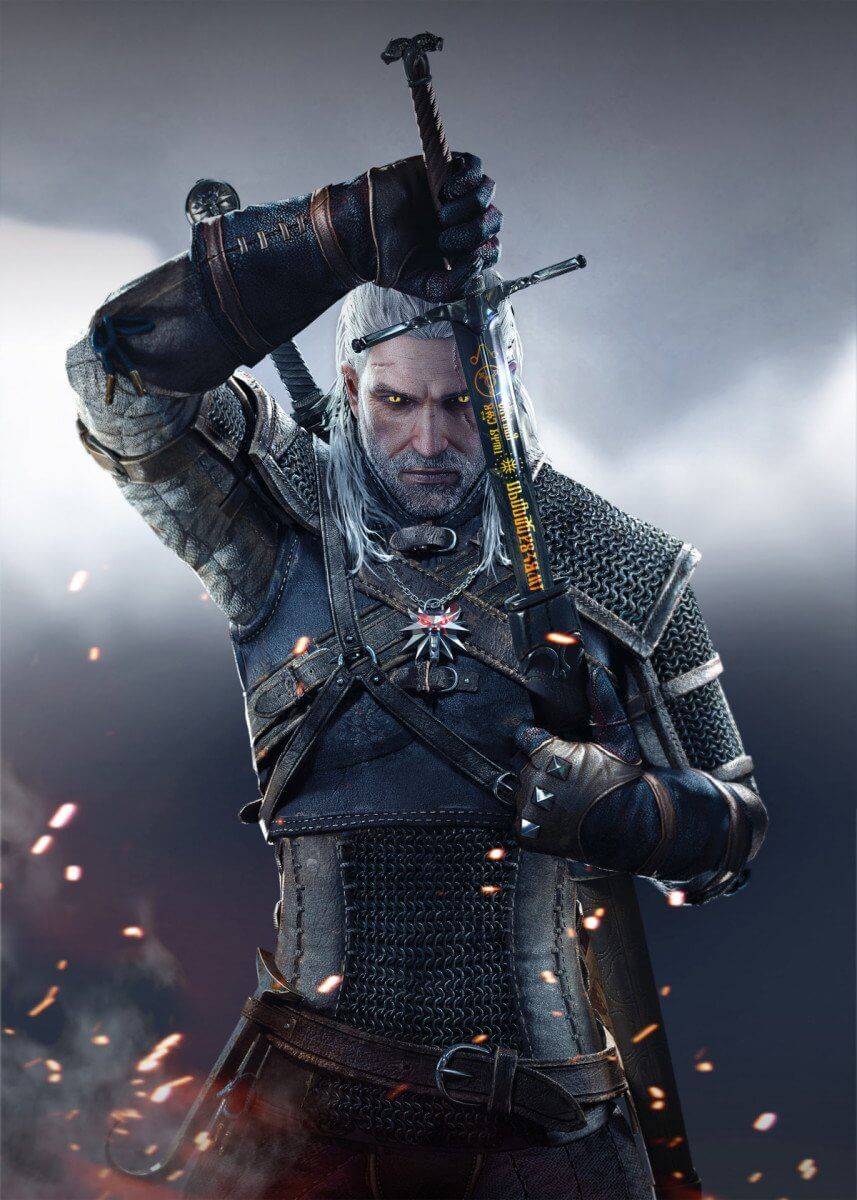 Geralt Sword Fantasy Poster Print Metal Posters In 2020 The
