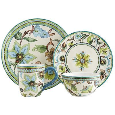 Breathtaking European Inspired Earthenware In Rustic Shades Of Blue Green And Brown Catalina Brings The Artisanal Patterned Dishes Dinnerware Sets Dinnerware