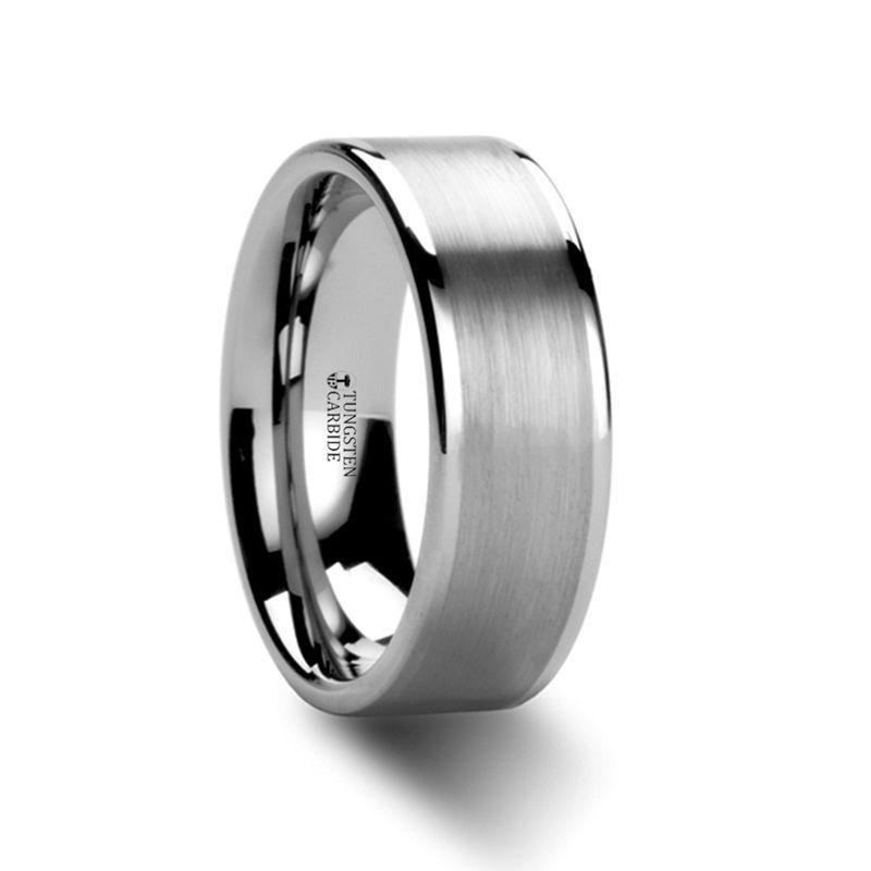 Wayne Flat White Tungsten Wedding Band With Brushed Finished Center 4mm 8mm Tungsten Wedding Bands Tungsten Carbide Wedding Bands Mens Wedding Bands Tungsten