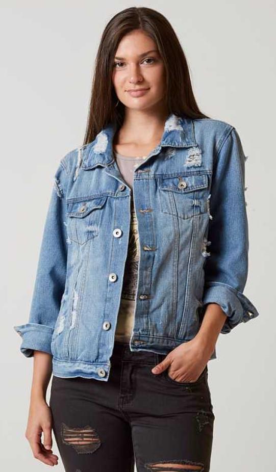 Jean Jacket Outfit Daytrip Boyfriend Jacket Buckle Edgy