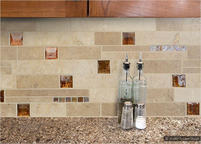 Brown Glass Travertine Mix Backsplash Tile For Traditional Kitchen Travertine Tile Backsplash Kitchen Backsplash Tile Backsplash