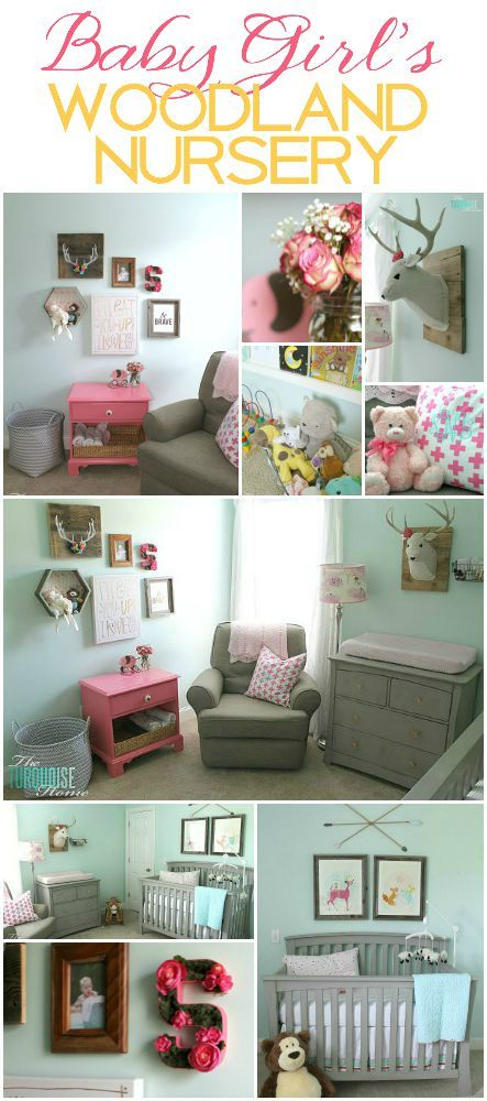 All of the pretty pink and turquoise touches with a woodland theme make a sweet retreat for any little girl.   Baby Girl's Woodland Nursery   All the details at TheTurquoiseHome.com