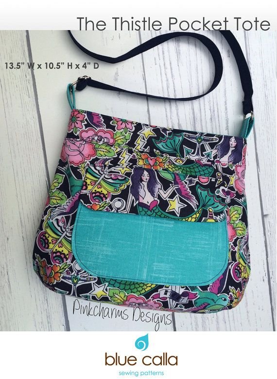 The Thistle Pocket Tote Cross Body Bag PDF Sewing Pattern | Bolsos ...