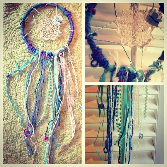 Dreamcatcher in light turquoise and blues with by TheLittleBigShop, $20.00
