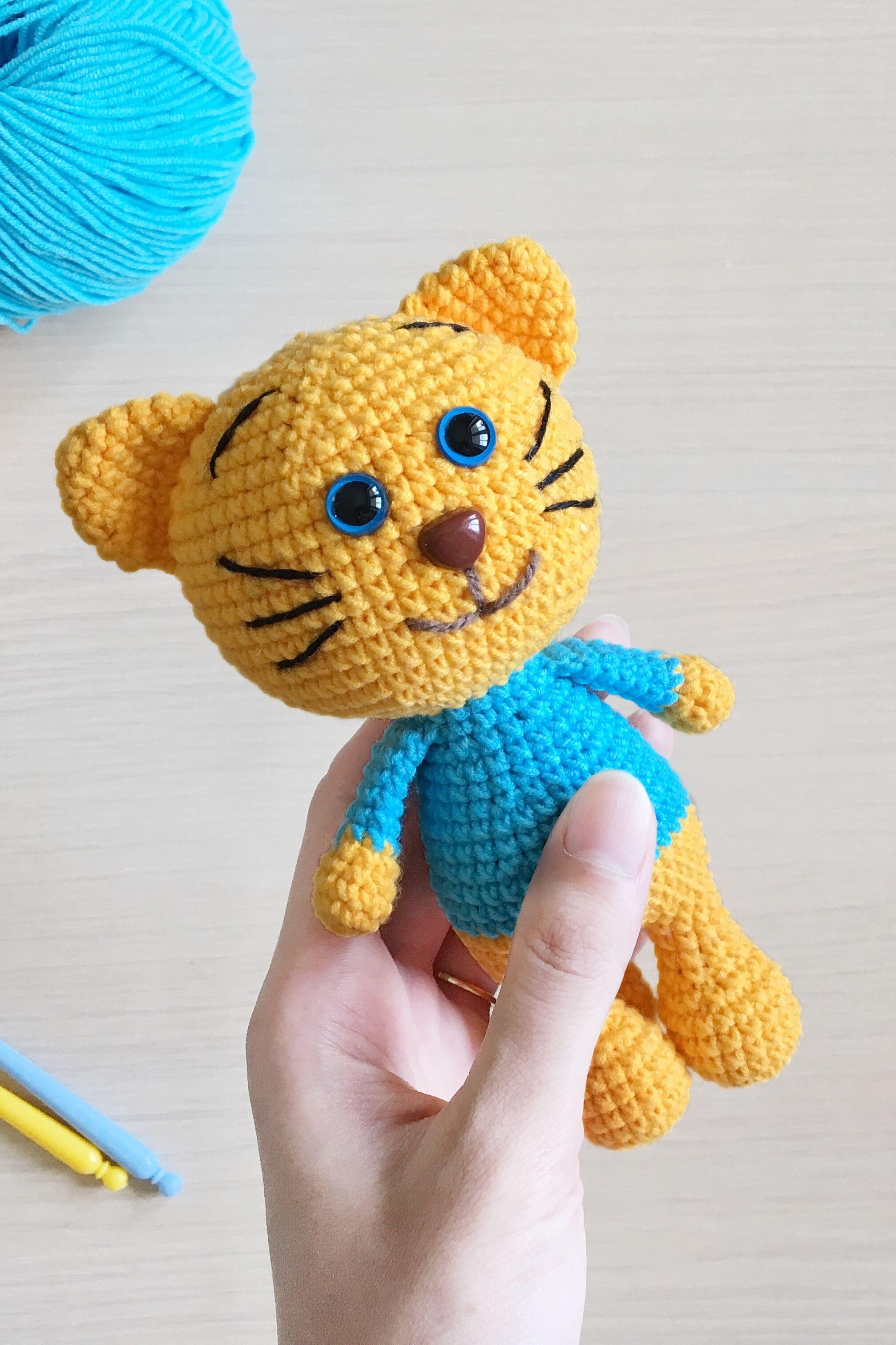 Yellow crochet cat in a blue sweater, Cat stuffed animal
