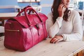 Leather Duffle Bag Pink Travel Bag Leather Holdall Carry All  Etsy