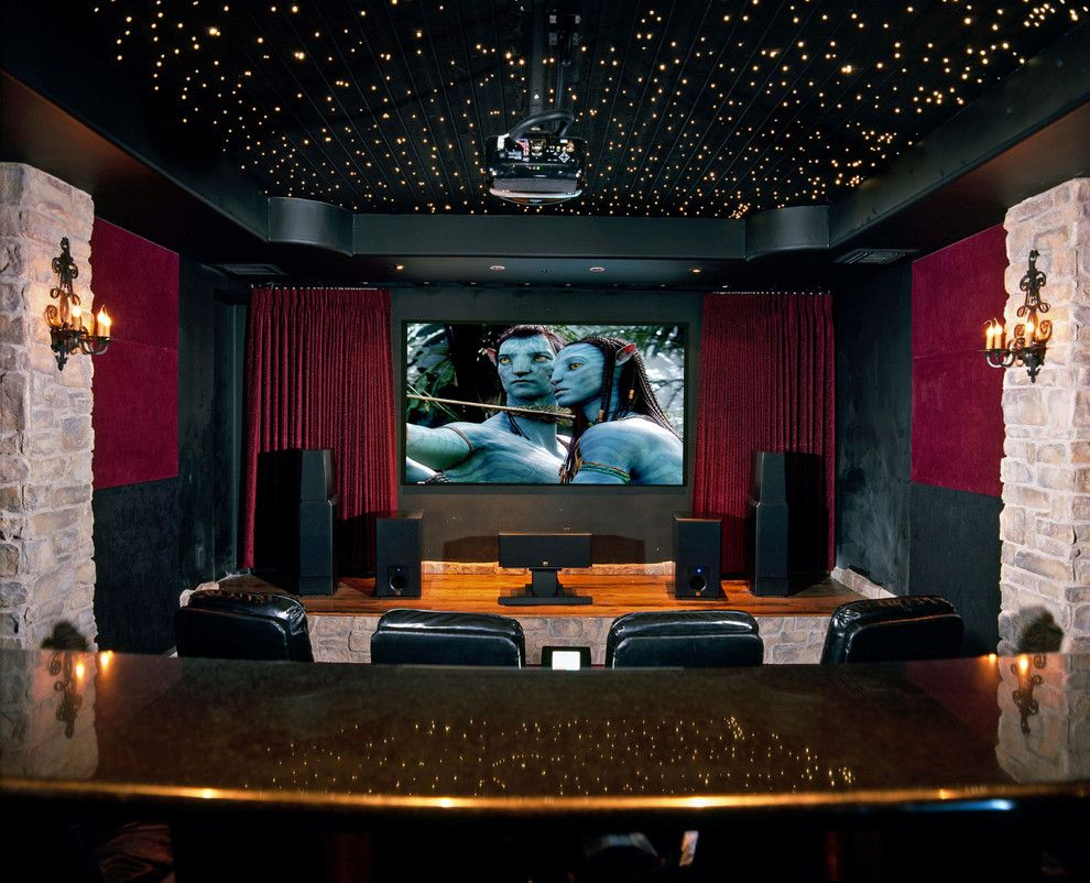 astonishing red velvet home theater traditional design ideas with
