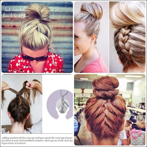 Simple French braid updo hairstyles for medium hair | Bun ...