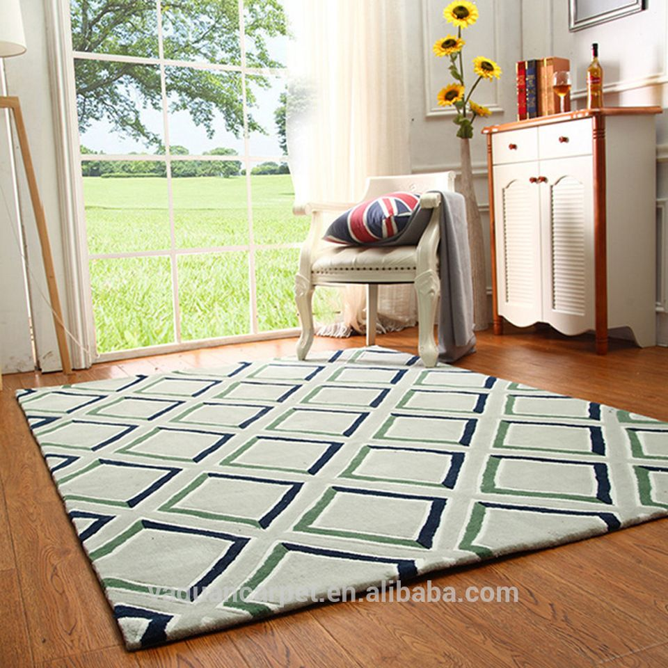 Living Room Rugs Modern Lime Green And Ivory Hand Tufted Carpet Modern Design Carpet Wool