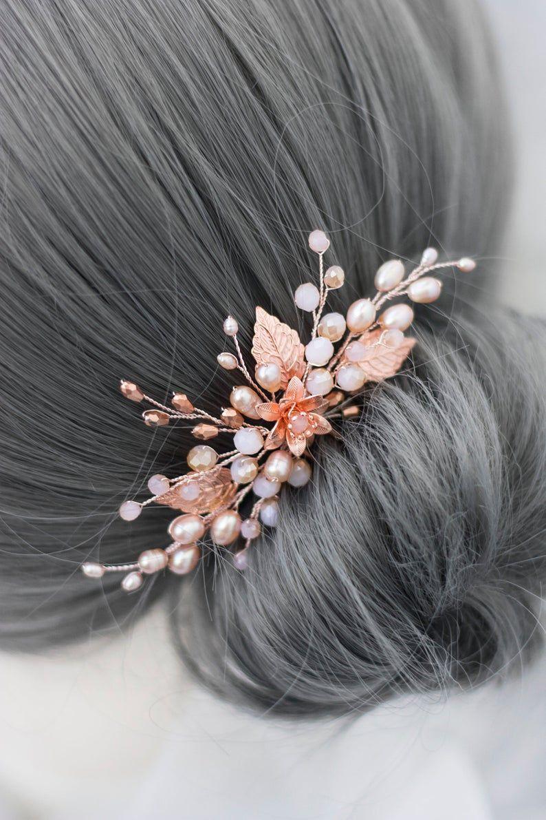 Bridal rose gold hair pin pearl blush hairclip wedding