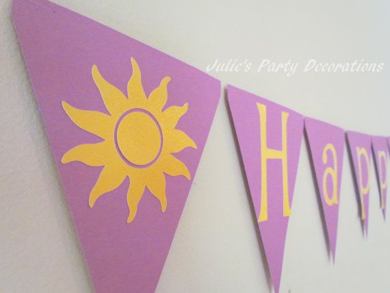 Tangled Birthday Banner Happy Birthday by juliesdecorations 1500
