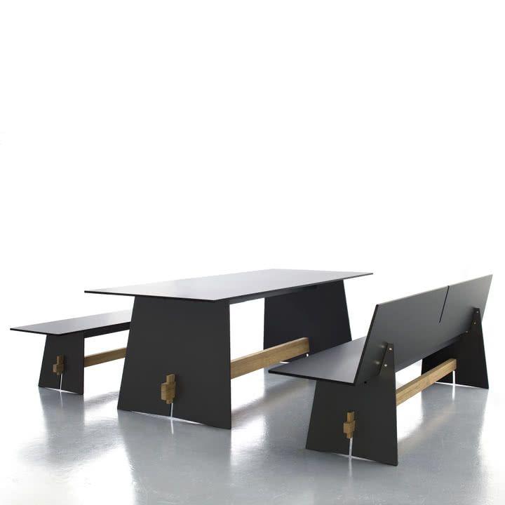 Conmoto Tension Tisch, anthrazit/schwarz/teak (mit