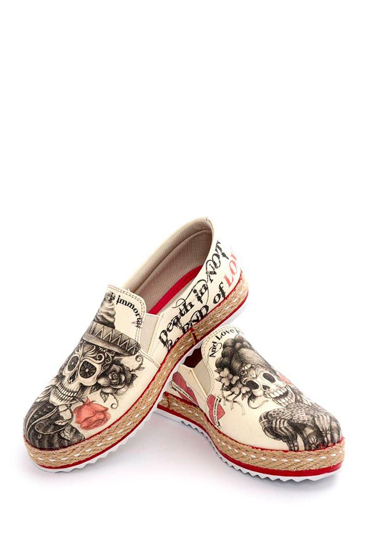 1c120e64d8833d Sugar Skull Printed Platform Slip-On Sneaker