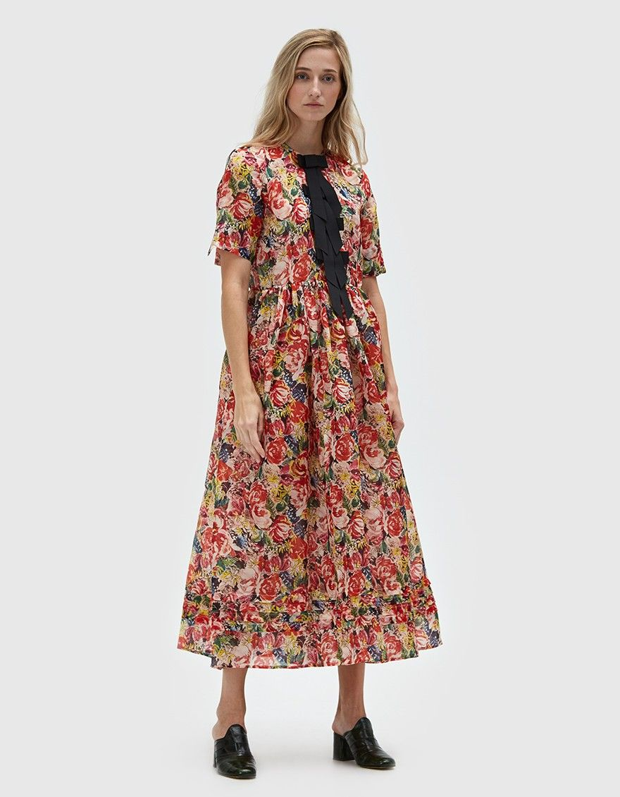 9ab274b4596 Occasion dress from Ganni in Multi. Semi-sheer fabric. Allover floral  print. Round neckline. Short sleeves. Concealed front button placket with  contrasting ...