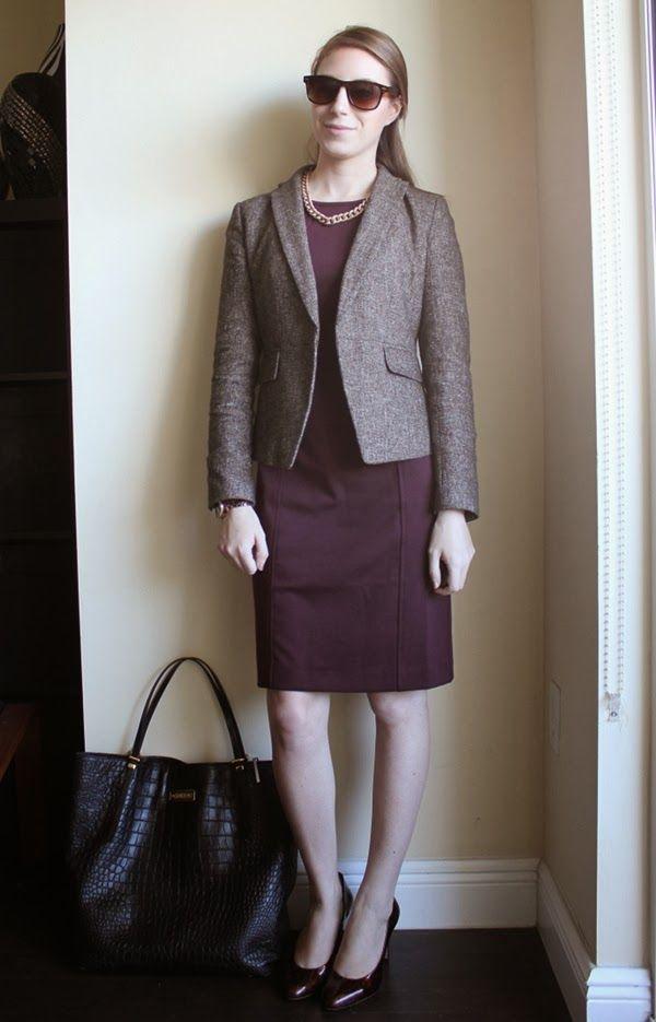 e994bdef564 professionally petite, lawyer fashion blog, style blog, petite fashion blog,  burgundy sheath dress, tweed blazer, tortoiseshell pumps, wayfarer  sunglasses, ...