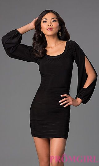 Short Scoop Neck Dress with Long Sleeves at PromGirl.com