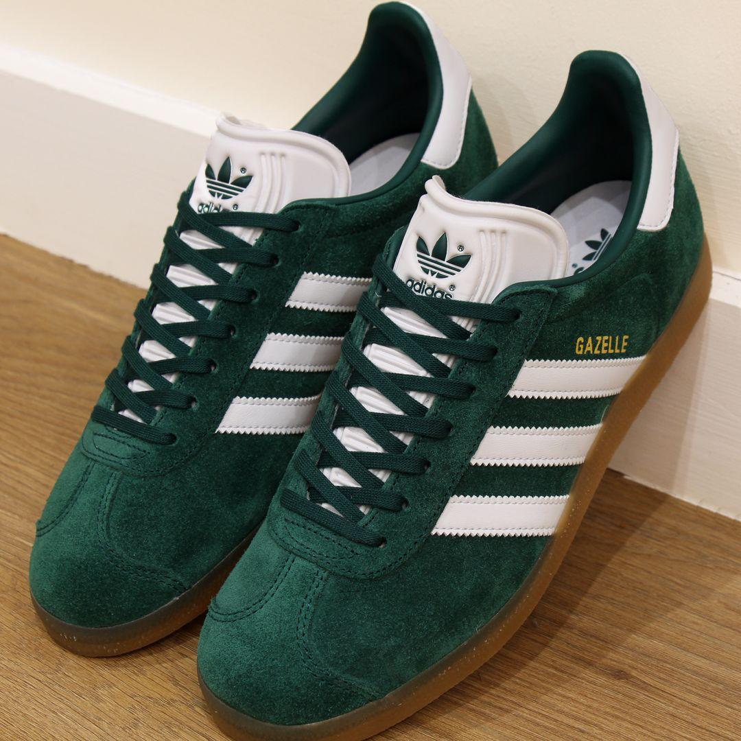 Adidas Gazelle Trainers Green/White/Gum | Adidas gazelle green ...