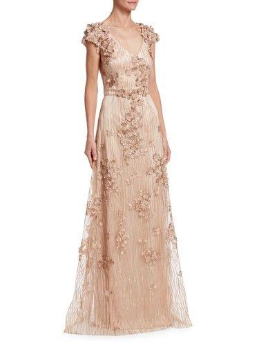93750ef752af David Meister Floral Embellished V-Neck Cap Sleeve Evening Gown Dress, Rose  Gold