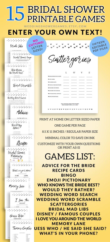 Printable Bridal Shower Games, Editable Bridal Shower Games, PDF ...
