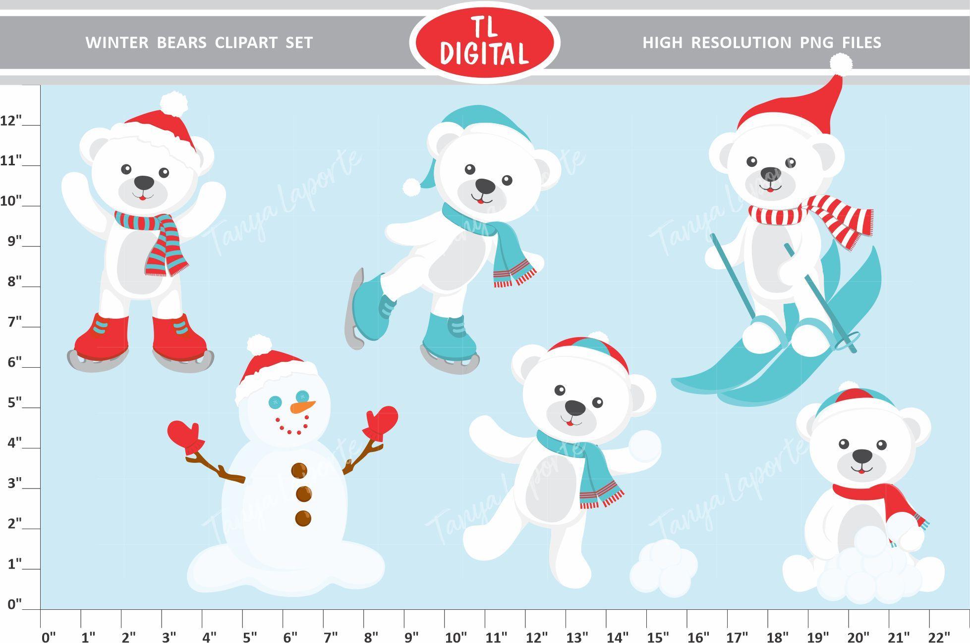 Winter Bear Clipart Set Graphic By Tl Digital Creative Fabrica Bear Clipart Graphic Illustration Clip Art