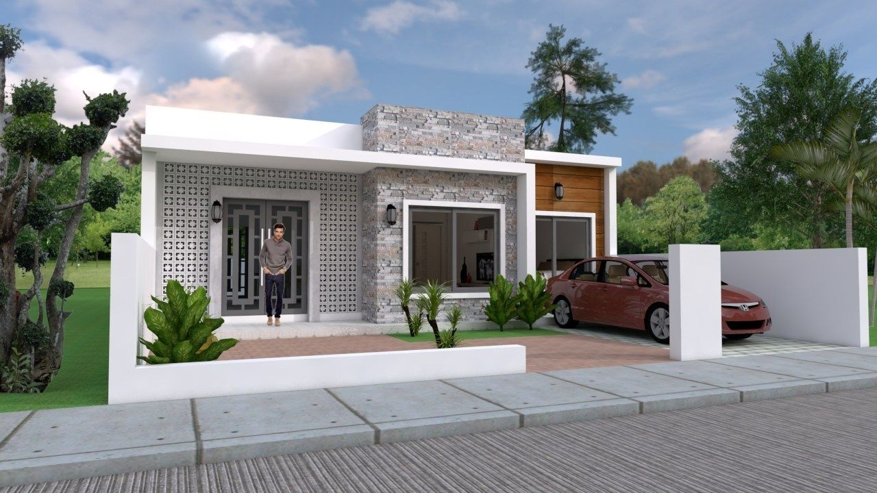Simple Home Design Plan 10x8m With 2 Bedrooms Samphoas Plan Simple House Design House Design Simple House