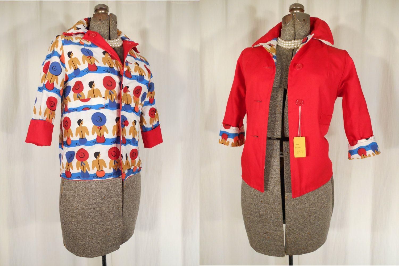 1950s Blazer// 50s Jacket// Novelty Print Blazer// Red White Sun Bathers// X Small by RockabillyRavenVtg on Etsy