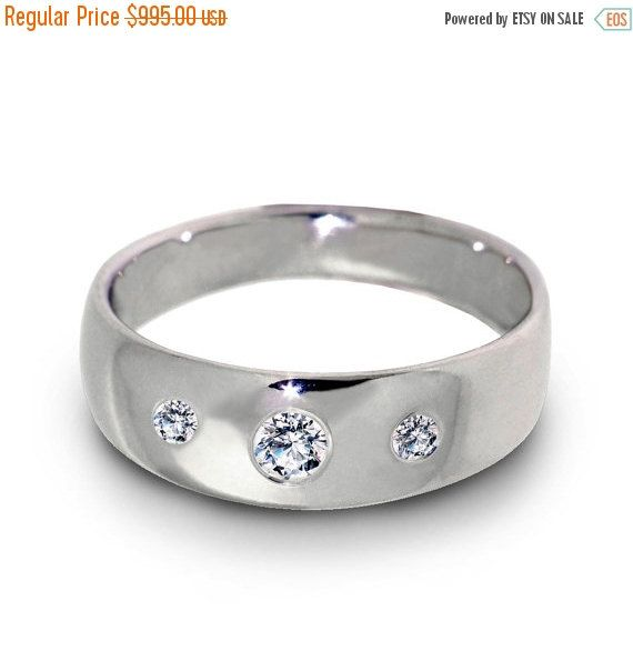 Black Friday SALE Wide Diamond Wedding Ring Comfort Fit by arosha