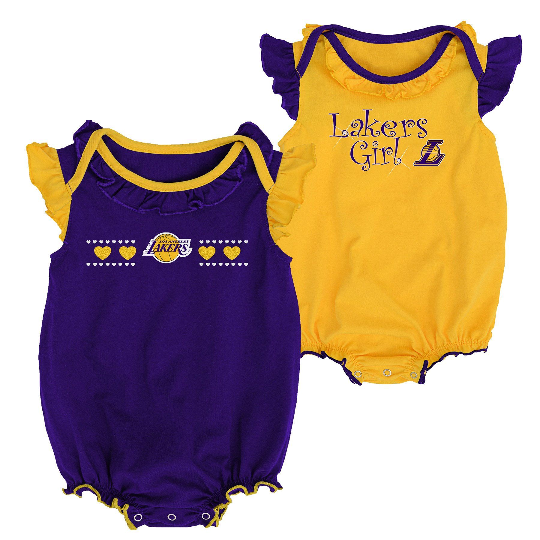 Lakers Baby Girl Duo Bodysuit Set Baby Clothes Warriors Baby Baby Fan