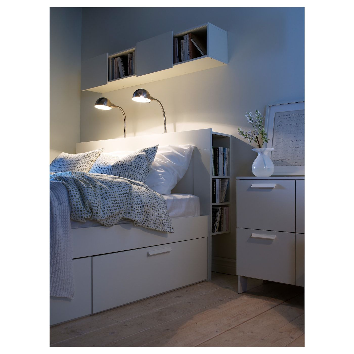 Brimnes Huvudgavel Med Forvaring Vit 140 Cm Ikea Headboard Storage Small Bedroom Storage Tiny Bedroom