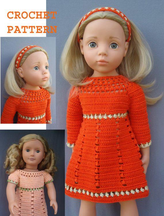 Crochet American Girl 18 inch doll Retro DRESS by KNITnPLAY | Паола ...