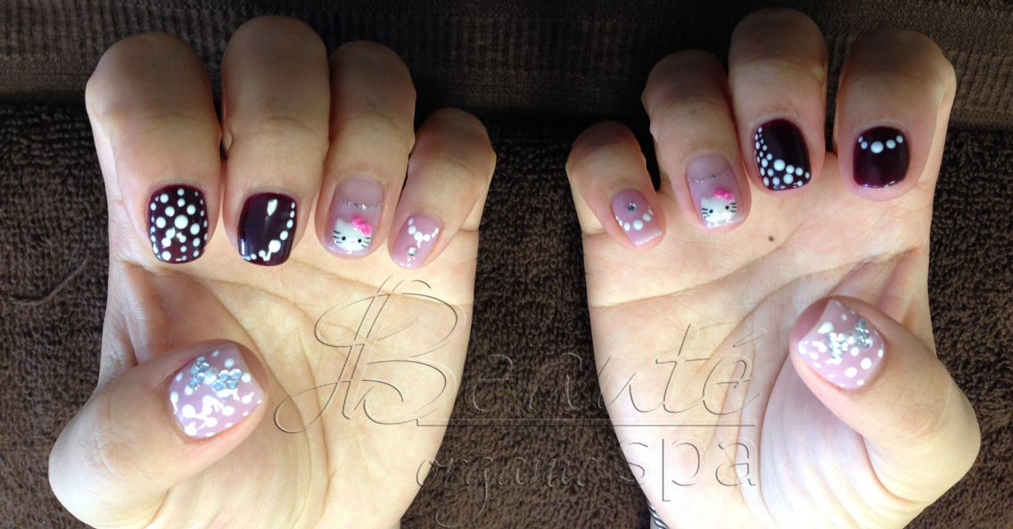 Organic Dark Berry and Orchid Gel Manicure for Saijun's nails with Hello Kitty, Polka Dot and Crystal Bow.