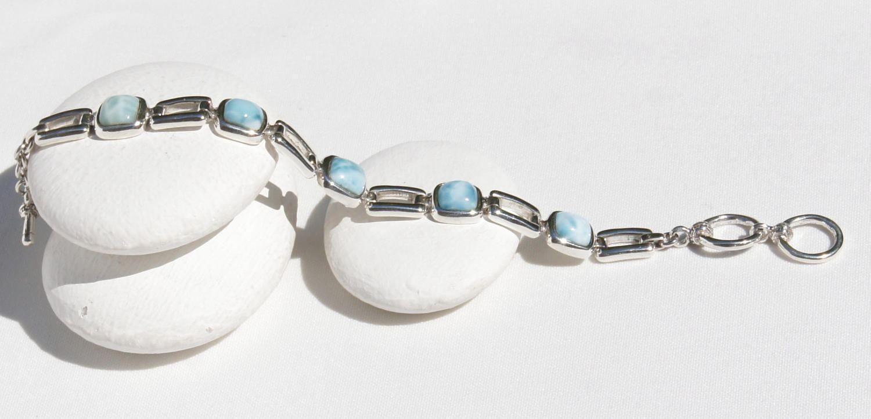 Sterling Silver Bracelet Jewelry Larimar Bracelet Marbled Heart Shape Larimar Stone .925 Original And Genuine Handmade Dominican AA