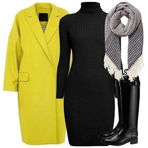 Ideas de outfits para día a día este otoño: prendas clave - combinamos vestido de punto + abrigo...