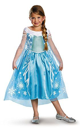 Frozen Elsa Abito da Sera Blu Costume Corona Tiara Guanti Set Vestito Parrucca