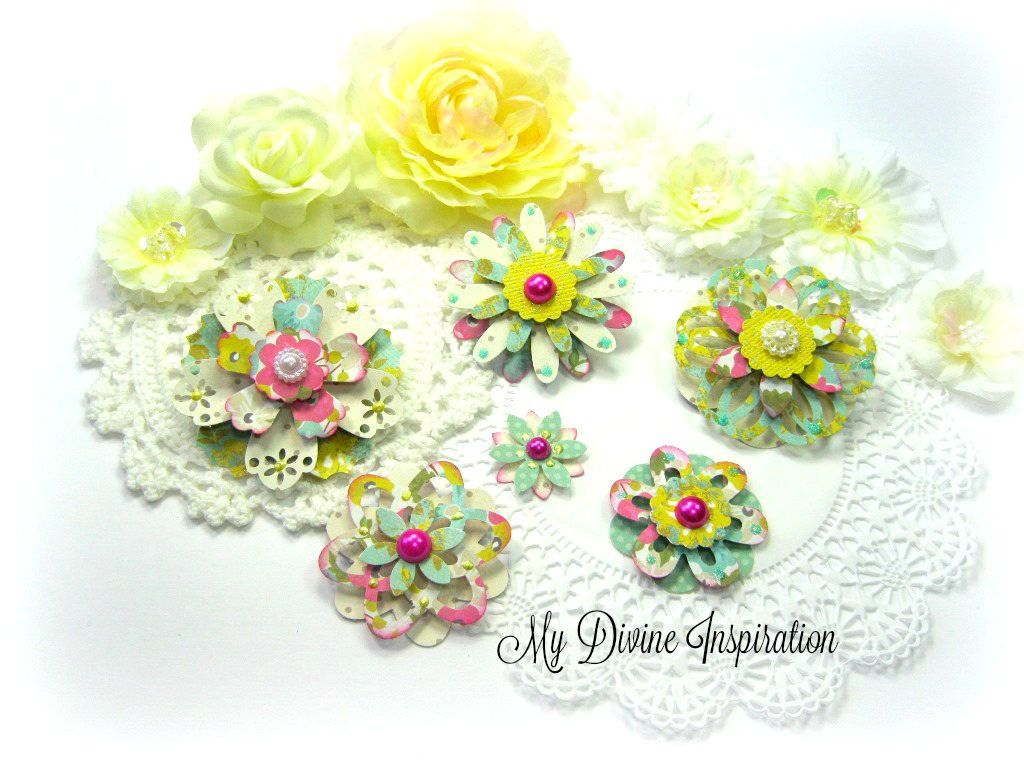Mme Collectable Girly Handmade Paper Embellishments Paper Flowers