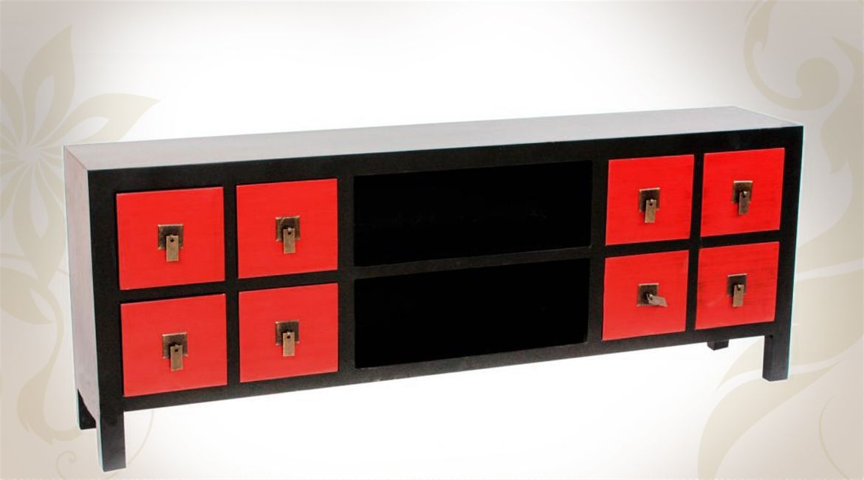 Meuble TV noir et rouge style meuble japonais avec 8 tiroirs - meuble de rangement avec tiroir