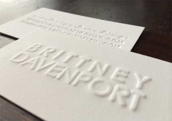 All White Embossed Business Card Clean Business Card Design Cleaning Business Cards Business Card Design