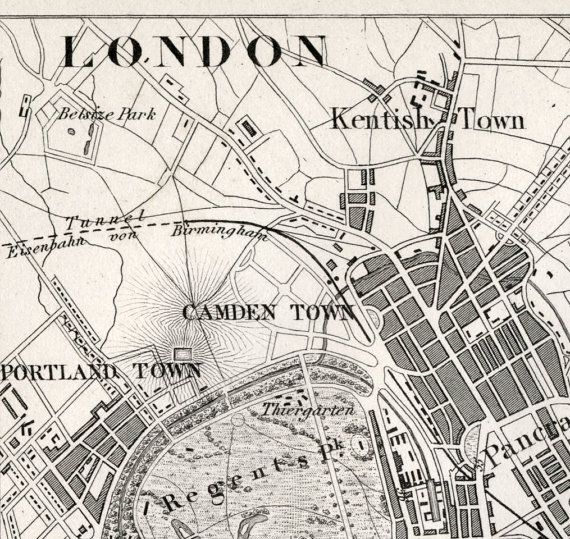 Antique Map of London Black and White London Map 1860 Vintage