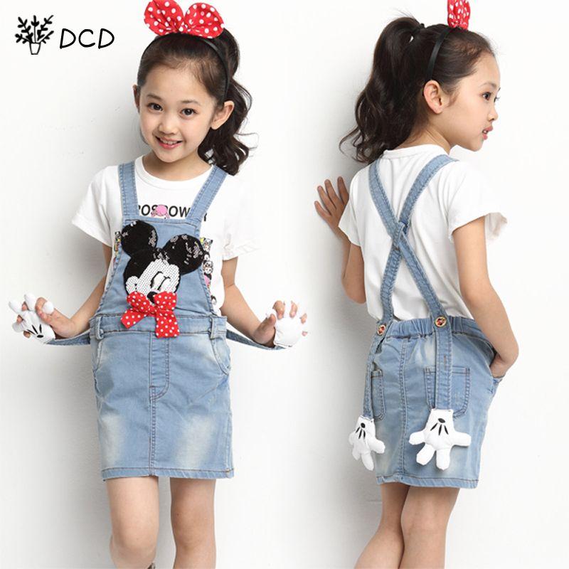 84c0144440 Girls Jeans Skirt Girl Denim Skirt Cute Mouse Bow Girls Denims Suspender  Overalls Girl 4-12 Years Casual Big Kids Denim Clothes