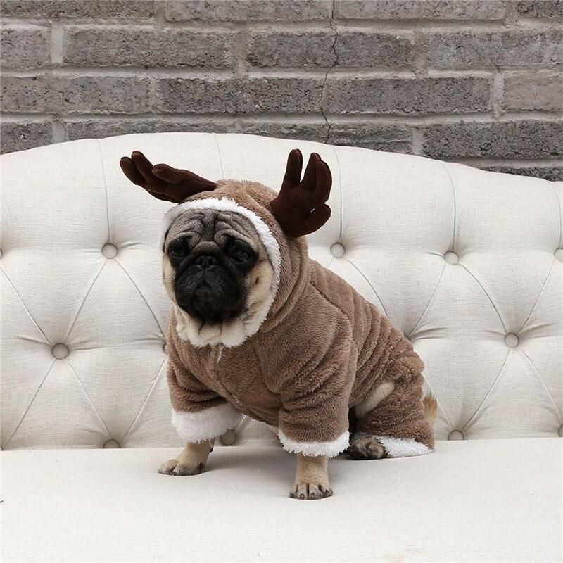 Brown Pug Dog Clothes Cosplay Deer