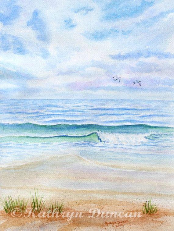 Ocean Beach Painting Original Watercolor By Kathrynmduncan On Etsy 175 00 Beach Watercolor Ocean Painting Seascape Paintings