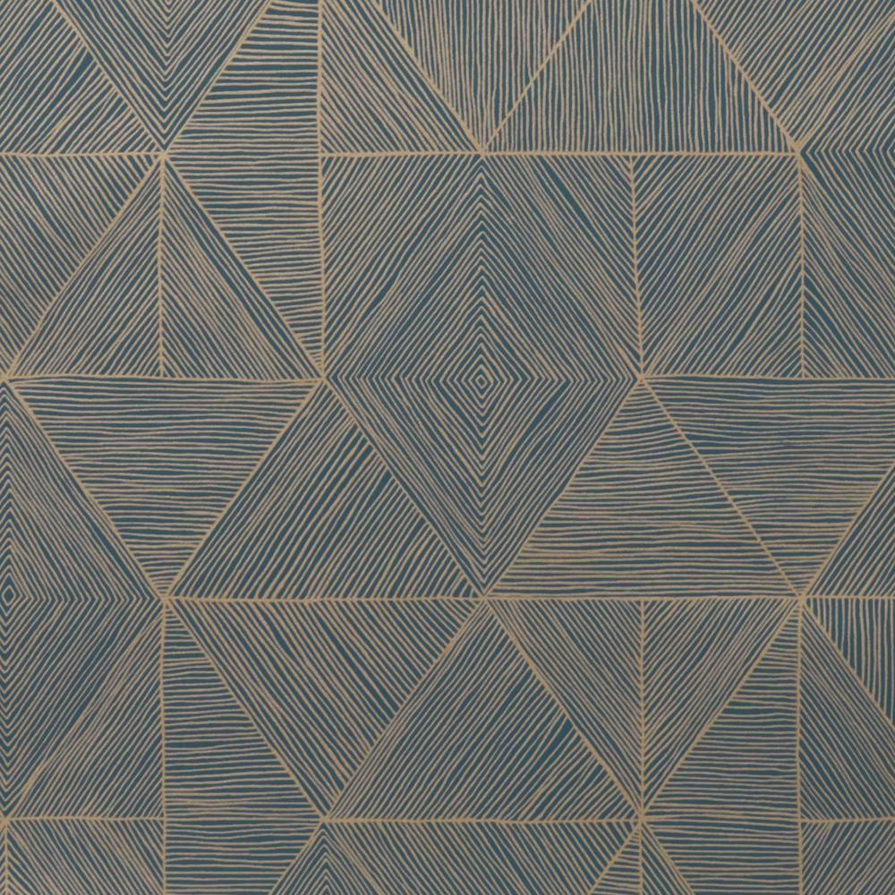Mica Gold on Blue Wallcovering Geometric wood