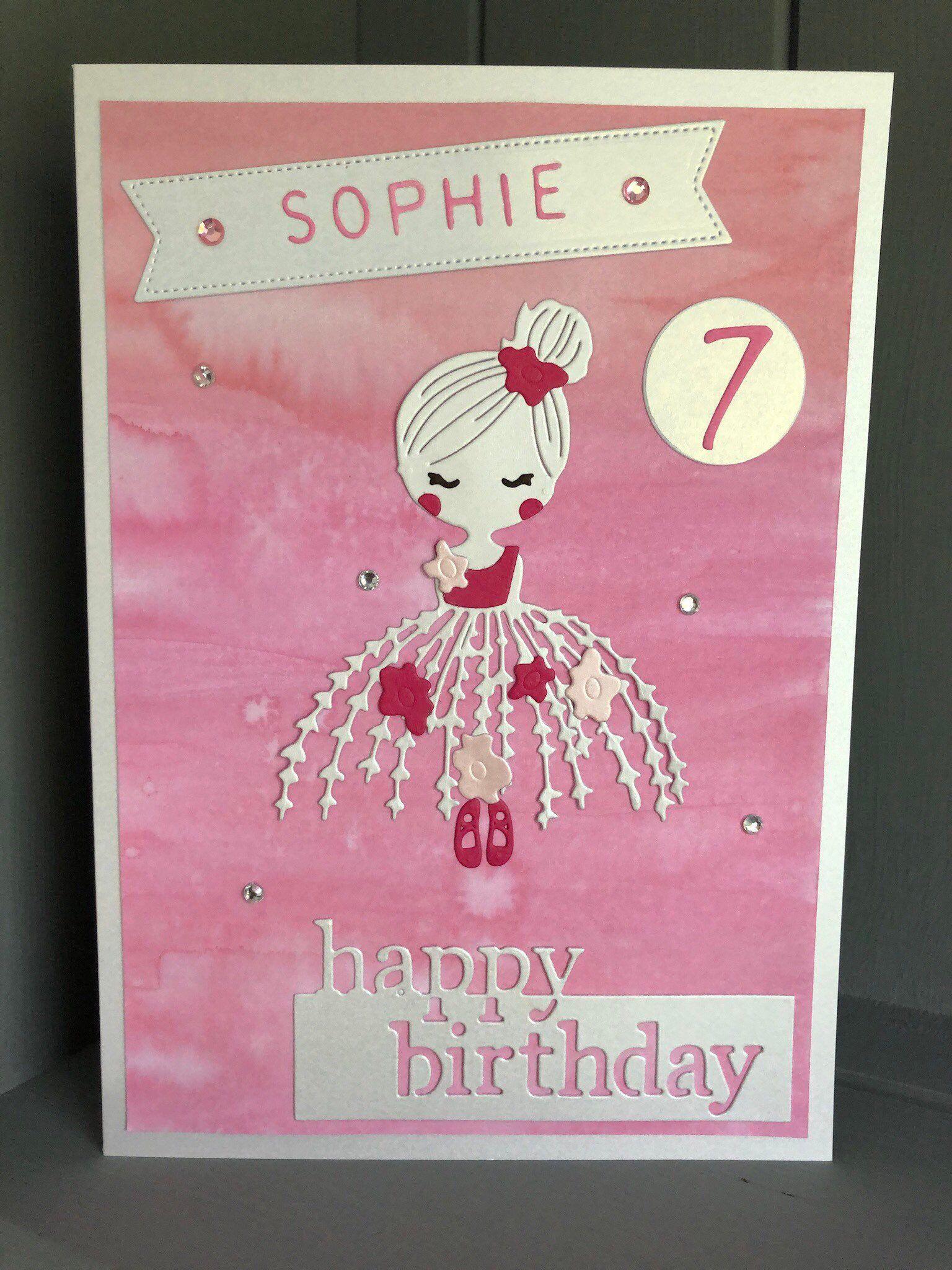 Ballerina Birthday Card Personalised Handcrafted Age Hand Etsy Card Making Birthday 65th Birthday Cards Kids Birthday Cards