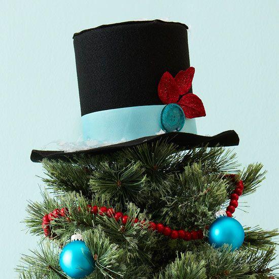 Christbaumspitze basteln eleganter zylinder hut hellblau rot xmas tree weihnachtsdekoration - Christbaumspitze basteln ...