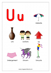 Objects Starting With Alphabet U Alphabet Worksheets Preschool Alphabet Preschool Alphabet Flashcards