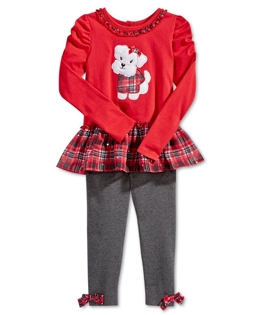 Nannette Little Girls' 2-Pc. Graphic Tunic & Plaid Leggings Set - Sets & Outfits - Kids & Baby - Macy's